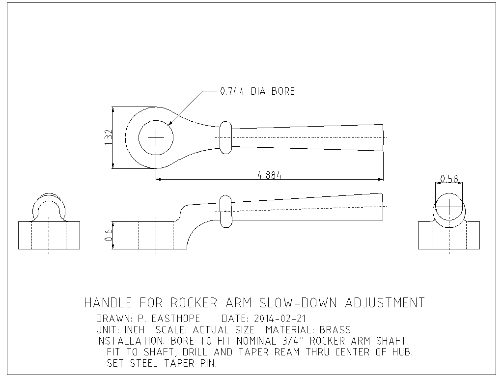 Drawing of slow-down handle for rocker arm of Easthope engine.